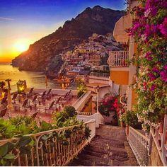 Sunset in Positano, Italy
