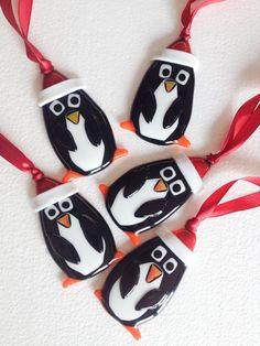 Handmade fused Glass christmas penguin hanging Decorations