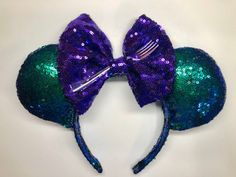 Disney Little Mermaid Sequin Minnie ears ! by MagicalEarsBovvtique Little Mermaid Minnie Ears, Disney Little Mermaids, The Little Mermaid, Disney Tangled, Disney Ears, Mermaid Sequin, Disneyland Trip, Cosplay Costumes, Sequins