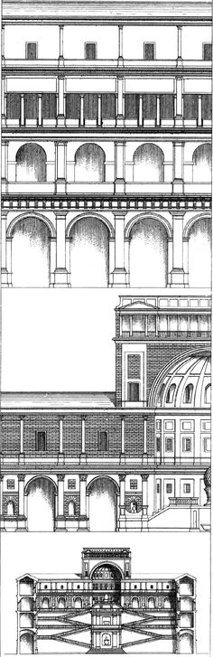 Court of the Belvedere, Bramante 1503. Part of the longitudinal section on a larger scale, showing the detail of the orders which decorate the four stories of this court. Elevation of the portion of the end of the court on a larger scale, showing the great niche.