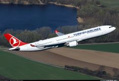 "Turkish Airlines Airbus A330-303 TC-JOB ""Bozcaada"" climbing away from Düsseldorf-Lohausen, March 2017. (Photo: Rainer Bexten)"