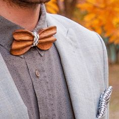 Double-sided wooden bowtie WOODY Material - White Oak Processing - teak oil, beeswax Removable, replaceable textile part (2 options) Cloth for