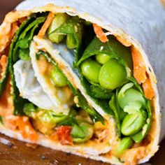 Edamame, spinach, carrots, hummus, & avocado. Power veggie wrap- would be such a good, healthy lunch!