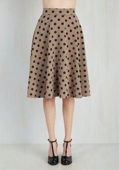 Bugle Joy Skirt in Khaki Dots - Tan, Black, Polka Dots, Print, Casual, Vintage Inspired, 50s, A-line, Winter, Variation, Fall, Long