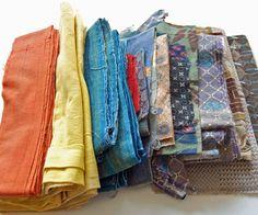 1900-30 Lot Bundle Japanese Cotton Fabric indigo stencil dyed patchwork quilting