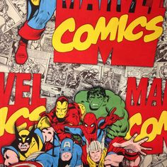 #comics #marvel #avengers #hulk #captainamerica #thor #wolverine    Printed Cotton from Mill End Store   www.millendstore.com