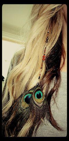indie peacock beaded hair extension, love this look