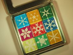 Holiday Decorations Fridge Magnets Set of 9 by DLRjewelry on Etsy