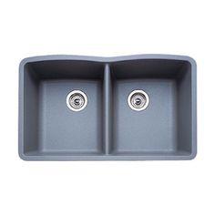 Blanco Diamond 19.25-In X 32-In Metallic Gray Single-Basin-Basin Granite Undermount (Customizable)-Hole Residential Kitc