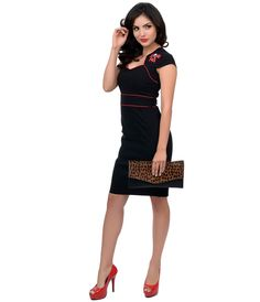 Get gorgeous, dolls! New from Hell Bunny, a bewitching black pencil frock crafted from a flexible blend of pliable fabric for a flattering fit that doesn't restrict. A cap sleeved bolero style sweetheart bodice is accentuated with striking red piping on the edges and at the waistband, while each shoulder is embroidered with lively skull and cherry bows! The alluring wiggle style fit boasts a sly kick vent for movement and zips up the back for a look that kills! <BR>  Available in sizes XS-XL…