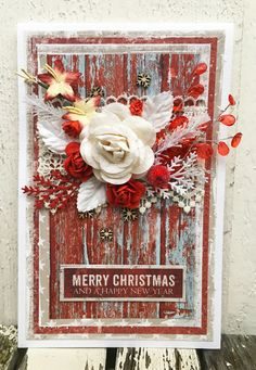 Card for Kreativ Scrapping - Red Xmas Merry Christmas, Xmas, I Card, Floral Wreath, Wreaths, Design, Home Decor, Merry Little Christmas, Yule