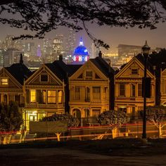 Painted ladies at night #sanfrancisco #sf #bayarea #alwayssf #goldengatebridge #goldengate #alcatraz #california