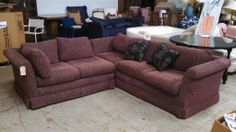 www.m37auction.com: 2 Piece Burgundy Sectional - Good Condition