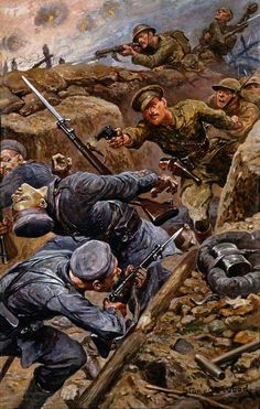 Captain Reginald James Young (1893–1919), Adjutant of the 2nd Battalion, The Duke of Cambridge's Own (Middlesex Regiment), Winning the Military Cross during the Battle of the Somme in 1916, by Stanley Llewelyn Wood, 1916.