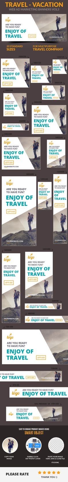 A set of Travel – Vacation Web Ad Marketing Banners Vol3 is comes with 20 standard dimensions which also meet Google adwords banners sizes. It included all the layered psd file where you can easily change its text, color & shapes as per your requirements. Web Design, Web Banner Design, Web Banners, Graphic Design, Free Banner Templates, Email Templates, Hotel Ads, Digital Banner, Education Banner