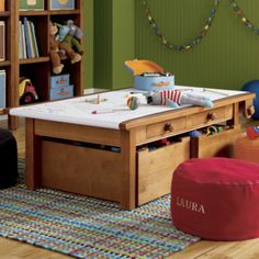 Play table, art table, or even a train table! Paper Storage, Kids Storage, Table Storage, Toy Storage, Smart Storage, Kids Art Table, Kids Craft Tables, Kid Table, Art Tables