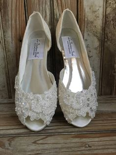 34312e31cc68 Open Toe Lace Beaded Flat Satin and Lace Bridal Shoe Peep Toe Lace Wedding Flat  Shoe Victorian Style Lace Flat Shoe