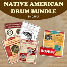 Fun TPT bundle to discover the rich diversity of Native American cultures through drum and instrument crafts plus beautiful artwork sized to fit the drums and also usable as mini-posters or coloring pages.