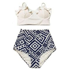 White Midkini Frilling Beach Bra Top and Graphic Print High waisted... ❤ liked on Polyvore featuring swimwear, bikinis, high waisted retro bathing suits, white bathing suit, high waist bikini swimsuit, high waisted swim suit and high-waisted bathing suits
