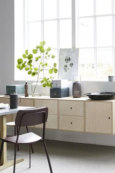 Easy Cabinet E Kiste / 2 Schubladen - Birke, natur / L 48 x H 50 cm - House Doctor