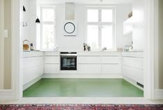 My dream kitchen with green floors