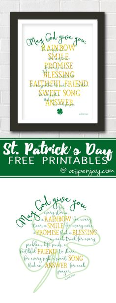 Love this Irish Prayer Printable. It is a perfect printable for St. Patrick's Day. And so pretty!