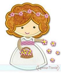 Flower Girl Cutie Applique - 3 Sizes!   Wedding   Machine Embroidery Designs   SWAKembroidery.com Lynnie Pinnie