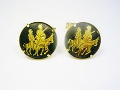 Vintage Damascene Toledoware Cufflinks round by unclesteampunk