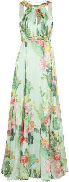 MATTHEW WILLIAMSON ENGLAND Cactus Garden Printed Silk chiffon Gown - Lyst