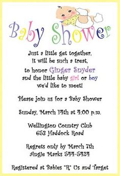 Wording For Baby Shower Invitations | Baby Shower Invitations Wording    Homemade Baby