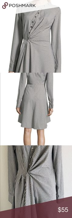 Project Runway Challenge winner Gingham Dress Long sleeve  Wrap style design  Silver buttons in front  Zipper on back Runway collection Dresses Midi