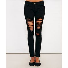 Machine™ Black Destroyed Skinny Jeans ($40) ❤ liked on Polyvore featuring jeans, pants, bottoms, distressed jeans, torn jeans, low rise ripped jeans, skinny jeans and destructed jeans