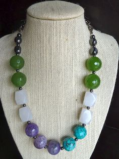 Blue green and purple chunky color block beaded by terrygoddard, $39.00