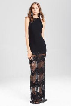 c0f9791b145d NATORI Josie Natori Crepe Halter Dress With Punch Needle Lace Style B13185.  #natori #cloth #