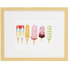 UncommonGoods Ice Pops (12870 ALL) ❤ liked on Polyvore featuring home, home decor, wall art and watercolor wall art