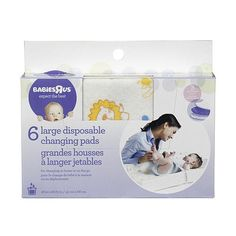 Babies R Us Large Disposable Changing Pads - 6-Pack! These are the BEST! This way if baby makes a mess you can throw away the changing pad instead of washing the whole changing pad cover!! {REPIN} and {FOLLOW} us! www.blissfulbabynurse.com