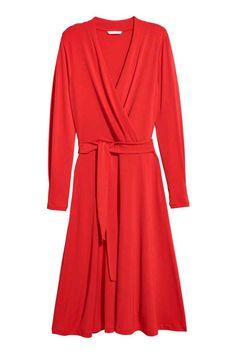 Krepowana sukienka z dżerseju - Jaskrawoczerwony - ONA | H&M PL