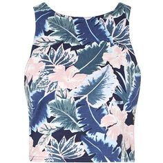 Blue Sleeveless Tropical Print Crop Top ($6.66) ❤ liked on Polyvore featuring tops, crop top, shirts, tank tops, tanks, blue shirt, floral shirts, sleeveless shirts, sleeveless tops and cropped tops