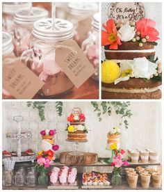 Rustic Boho themed baby shower via Kara's Party Ideas KarasPartyIdeas.com Cakes, decor, printables, invitation, cupcakes, desserts, favors, ...