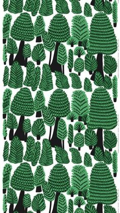 kristina isola | marimekko | illustration | graphic | pattern| green black and white | repeating pattern | lush forest | trees
