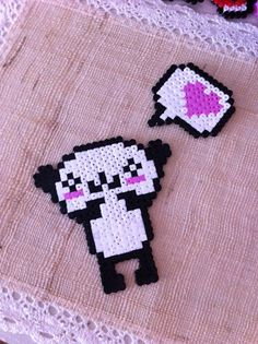 Panda love hama perler beads