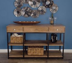 Antiqued wooden storage console table