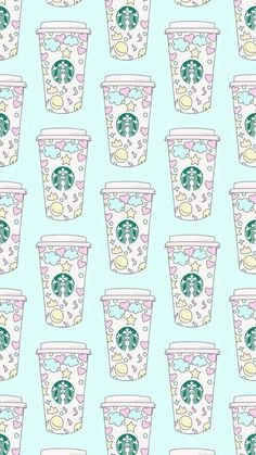 Starbucks shared by abril ✧ on We Heart It pattern, starbucks, and wallpaper image<br> Iphone Wallpaper Vsco, Cute Girl Wallpaper, Cute Wallpaper For Phone, Iphone Background Wallpaper, Kawaii Wallpaper, Pastel Wallpaper, Cool Wallpaper, Cute Background Pictures, Collage Background