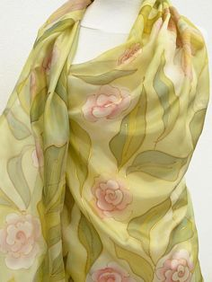 Olive Long silk scarf hand painted green light pink gold