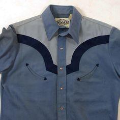 70s Men's Western Shirt / Pointy Collar / Contrast by SpunkVintage, $36.00