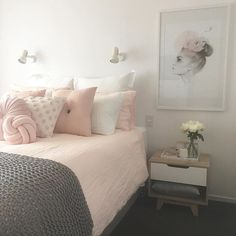 Image result for blush pink grey teen room