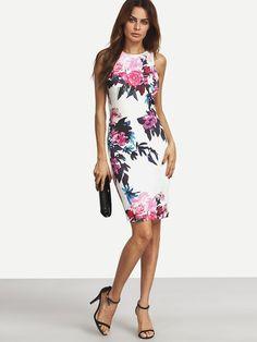 Aermelloses Kleid mit Blumenmuster 2017 Bunt
