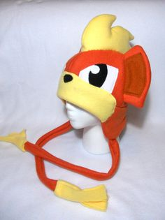 Pokemon Inspired Growlithe Fleece Hat MADE TO ORDER by Higginstuff