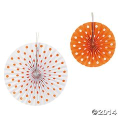Orange Polka Dot Hanging Fans