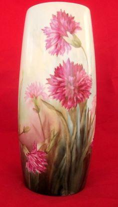 Limoges France Porcelain Vase Hand Painted Carnation